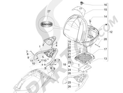 Piaggio Liberty 150 4T 3V ie LEM 2013-2014 Portaequipajes trasero