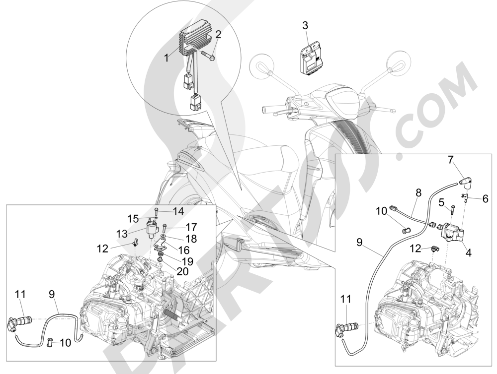 Piaggio Liberty 150 4T 3V ie LEM 2013-2014 Reguladores de tensión - Centralitas electrónicas - Bobina A.T.