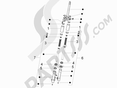 Piaggio Liberty 150 4T 3V ie LEM ( Vietnam ) 2013-2014 Componentes de la horquilla (Escorts)