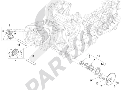 Piaggio Liberty 150 4T 3V ie LEM ( Vietnam ) 2013-2014 Grupo soporte balancines