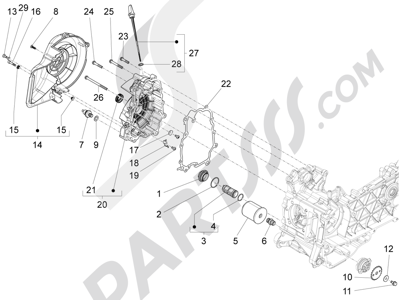 Piaggio Liberty 150 4T 3V ie LEM ( Vietnam ) 2013-2014 Tapa volante magnetico - Filtro de aceite