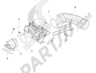 Piaggio Liberty 150 4T E3 MOC 2009-2013 Carburador completo - Racord admisión