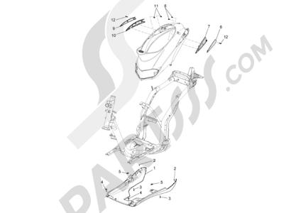 Piaggio Liberty 150 4T E3 MOC 2009-2013 Cubiertas laterales - Spoiler