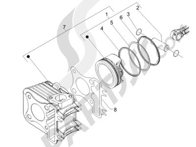 Piaggio Liberty 150 4T E3 MOC 2009-2013 Grupo cilindro-pistón-eje