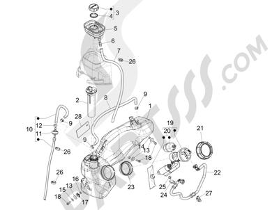 Piaggio Liberty 150 iGet 4T 3V ie ABS (EMEA) 2015 - 2016 Depósito carburante