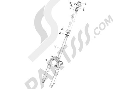Piaggio Liberty 150 iGet 4T 3V ie ABS (EMEA) 2015 - 2016 Horquilla Tubo direccion - Conjunto tejuelos