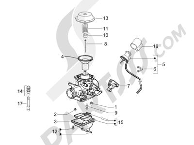 Piaggio Liberty 200 4T E3 2006-2008 Componentes de carburador