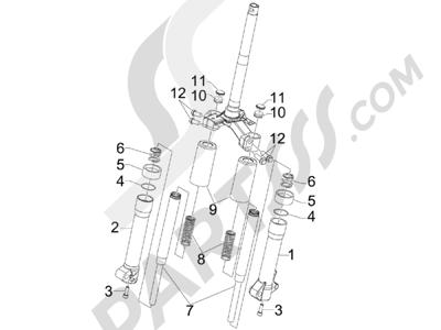 Piaggio Liberty 50 2T (UK) 2007 Componentes de la horquilla (Escorts)
