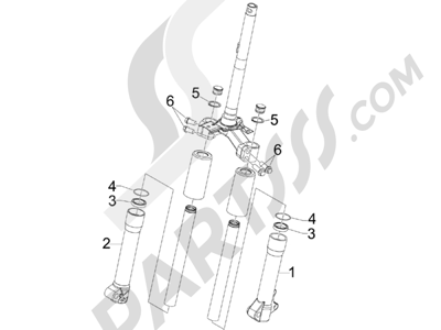 Piaggio Liberty 50 2T (UK) 2007 Componentes de la horquilla (Wuxi Top)