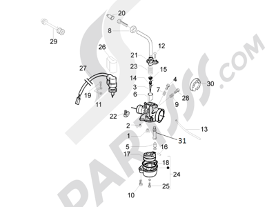 Piaggio Liberty 50 2T MOC 2009-2013 Componentes de carburador