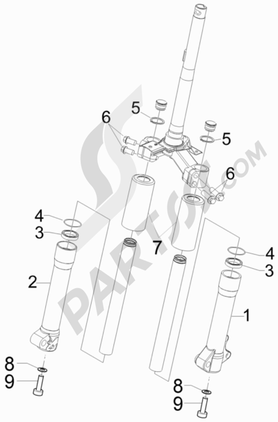 Piaggio Liberty 50 2T MOC 2009-2013 Componentes de la horquilla (Wuxi Top)