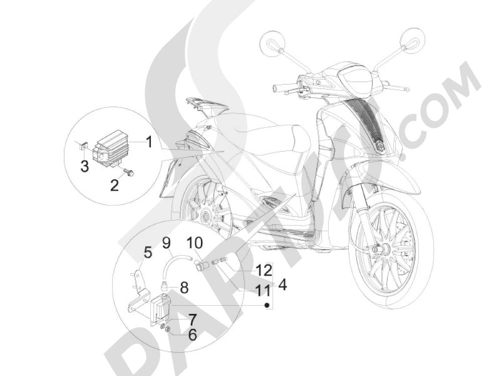 Piaggio Liberty 50 2T MOC 2009-2013 Reguladores de tensión - Centralitas electrónicas - Bobina A.T.