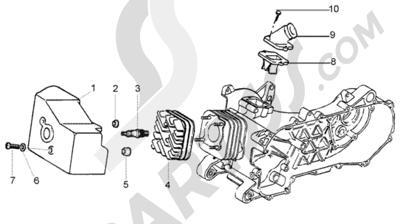 Piaggio Liberty 50 2T RST 1998-2005 Culata - deflector - racor de admision