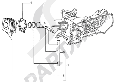 Piaggio Liberty 50 2T RST 1998-2005 Grupo cilindro - piston - eje de piston