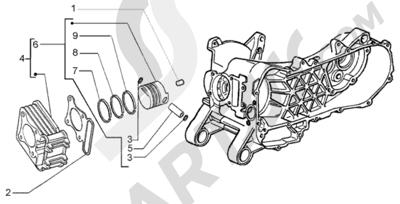 Piaggio Liberty 50 4T RST 1998-2005 Grupo cilindro - piston - eje de piston