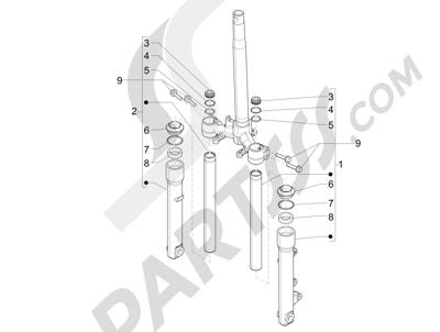 Piaggio Liberty 50 iGet 4T 3V (EMEA) 2015-2016 Componentes de la horquilla (Wuxi Top)