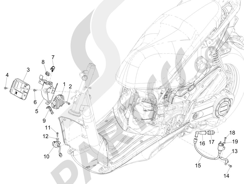 Piaggio Liberty 50 iGet 4T 3V (EMEA) 2015-2016 Reguladores de tensión - Centralitas electrónicas - Bobina A.T.