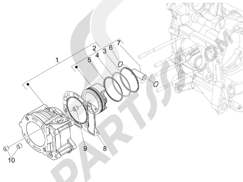 Grupo cilindro-pistón-eje Piaggio MP3 125 ie 2008-2009