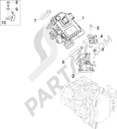 Piaggio MP3 125 YOUrban ERL 2011-2013 Cuerpo con mariposa - Inyector - Racord admisión