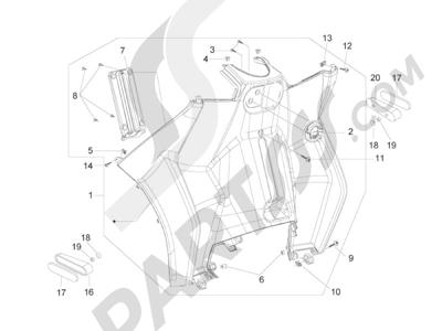 Piaggio MP3 250 ie MIC (USA) - MP3 250 ie MIC (CINA) 2010 Porta-objectos dianteiro - Contra escudo