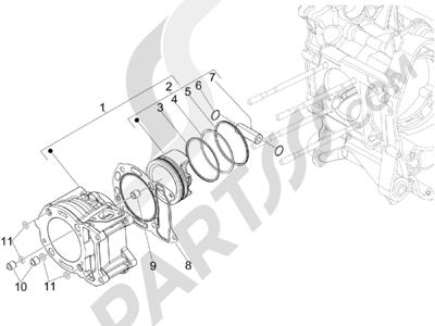 Piaggio MP3 300 4T 4V ie ERL Ibrido 2010 - 2013 Grupo cilindro-pistón-eje