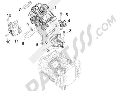 Piaggio MP3 300 ie LT - MP3 300 ie LT Sport 2011-2014 Cuerpo con mariposa - Inyector - Racord admisión