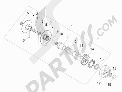 Piaggio MP3 300 ie LT - MP3 300 ie LT Sport 2011-2014 Polea conducida