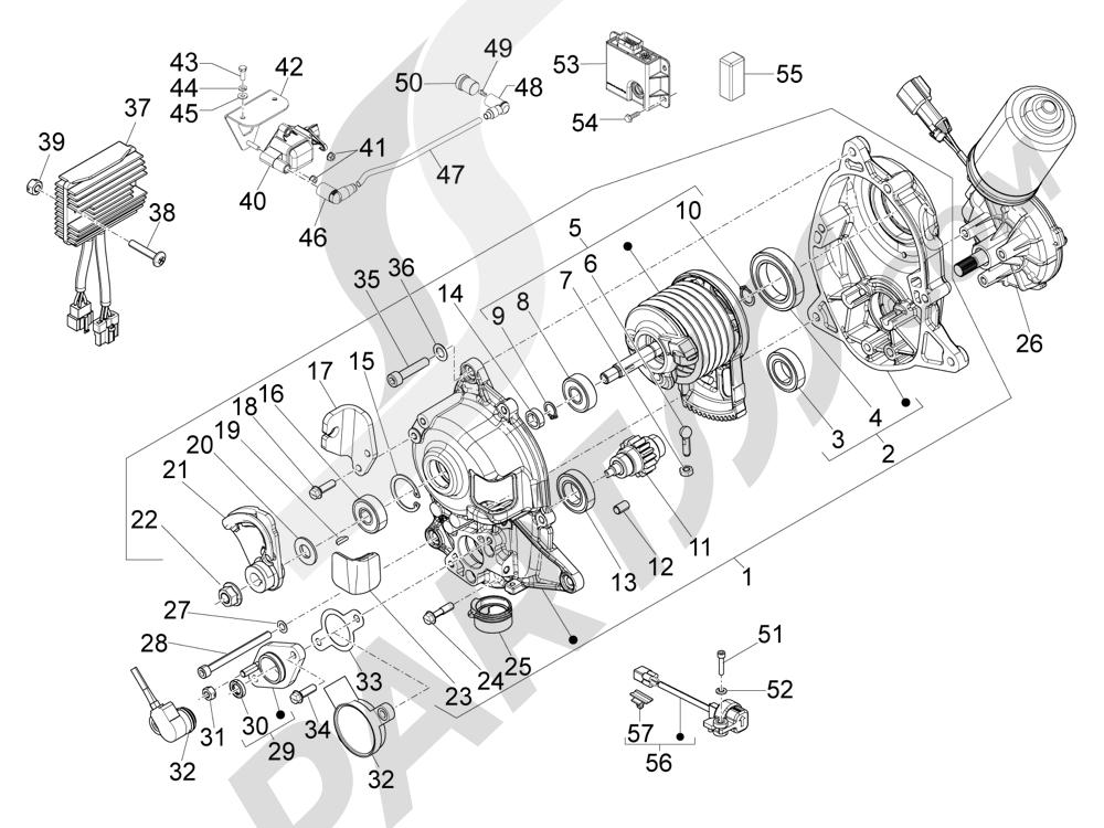 Piaggio MP3 300 ie LT - MP3 300 ie LT Sport 2011-2014 Reguladores de tensión - Centralitas electrónicas - Bobina A.T.