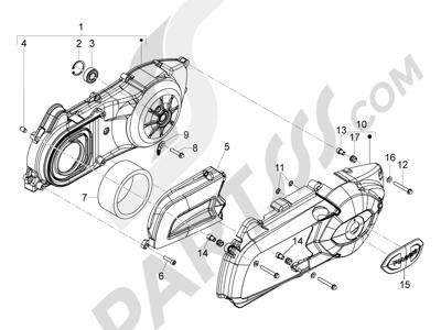 Piaggio MP3 300 ie LT - MP3 300 ie LT Sport 2011-2014 Tapa cárter - Refrigeracion cárter