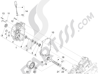 Piaggio MP3 300 ie LT - MP3 300 ie LT Sport 2011-2014 Tapa volante magnetico - Filtro de aceite