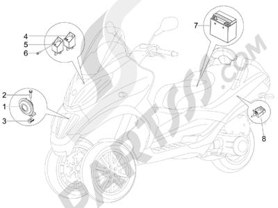 Piaggio MP3 300 ie LT - MP3 300 ie LT Sport 2011-2014 Telerruptores - Bateria - Claxon