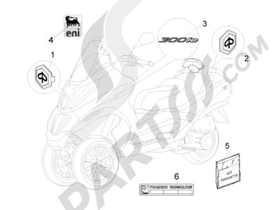 Piaggio MP3 300 ie Touring 2011-2012 Letreros - Escudos