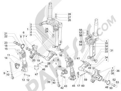 Piaggio MP3 300 LT BUSINESS - SPORT ABS ENJOY 2014-2015 Componentes de la horquilla (Mingxing)