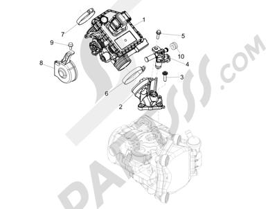 Piaggio MP3 300 LT BUSINESS - SPORT ABS ENJOY 2014-2015 Cuerpo con mariposa - Inyector - Racord admisión