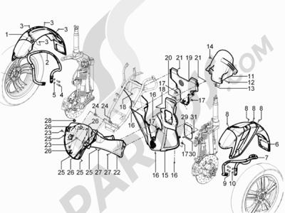 Piaggio MP3 300 YOUrban ERL 2011-2015 Alojamiento rueda - Guardabarros