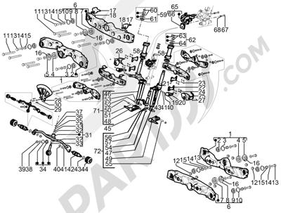 Piaggio MP3 300 YOUrban LT ERL 2011-2012 Componentes de la horquilla (Mingxing)