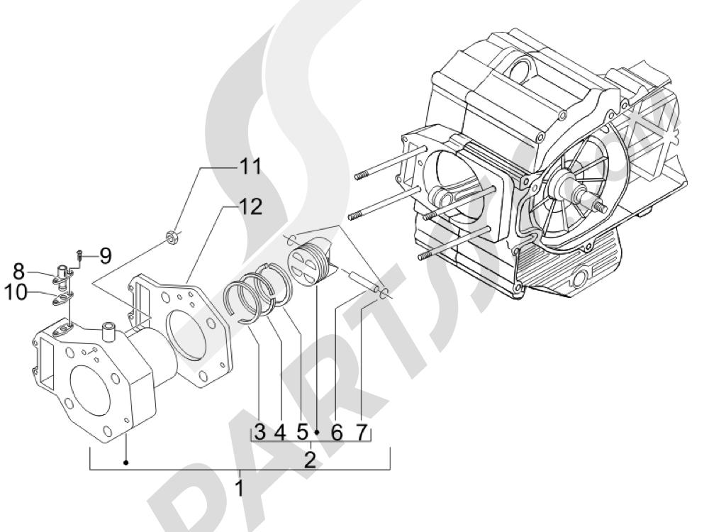 Grupo cilindro-pistón-eje Piaggio MP3 400 ie MIC 2008-2009