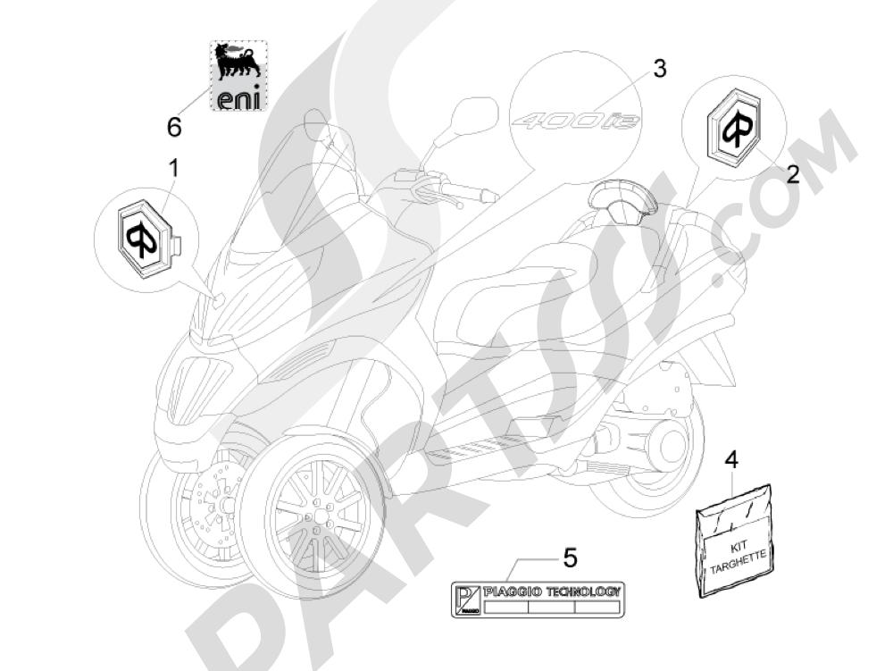 Letreros - Escudos Piaggio MP3 400 ie MIC 2008-2009
