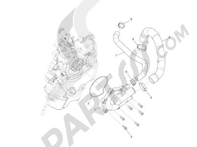 Piaggio MP3 500 LT Business (EMEA) 2014-2016 Wasserpumpe