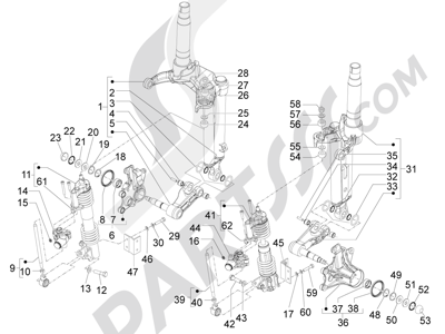 Piaggio MP3 500 LT Sport - Business 2011-2012-2013 Componenti della forcella (Mingxing)