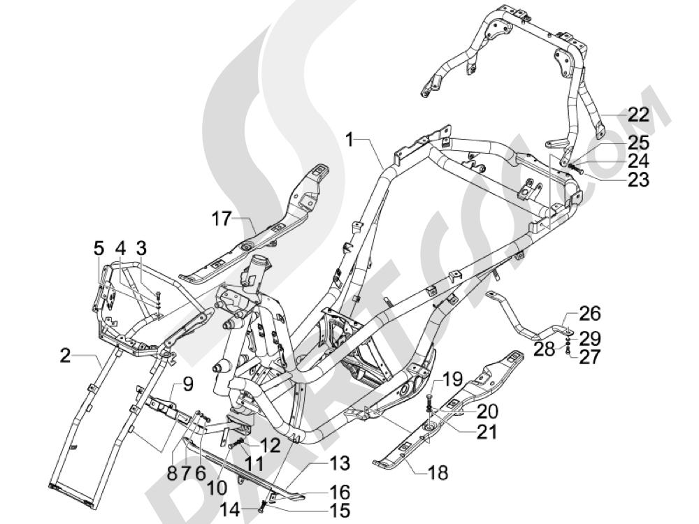Chasis carrocería Piaggio MP3 500 LT Sport - Business 2011-2012-2013