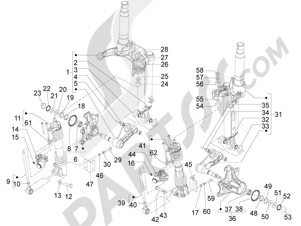 Componenti della forcella (Mingxing) Piaggio MP3 500 LT Sport - Business 2011-2012-2013