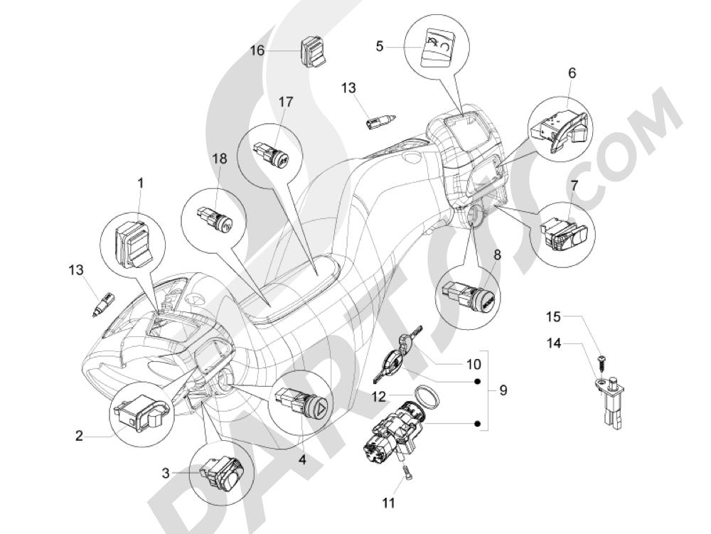 Conmutadores - Conmutadores - Pulsadores - Interruptores Piaggio MP3 500 LT Sport - Business 2011-2012-2013