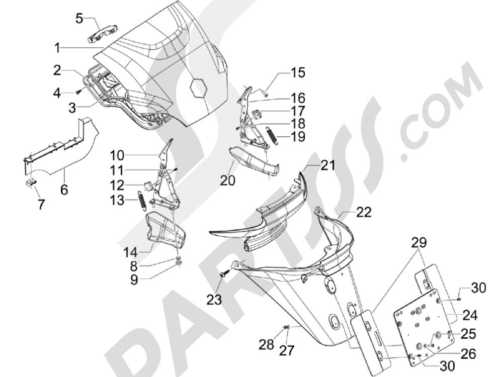 Cubierta trasera - Salpicador Piaggio MP3 500 LT Sport - Business 2011-2012-2013
