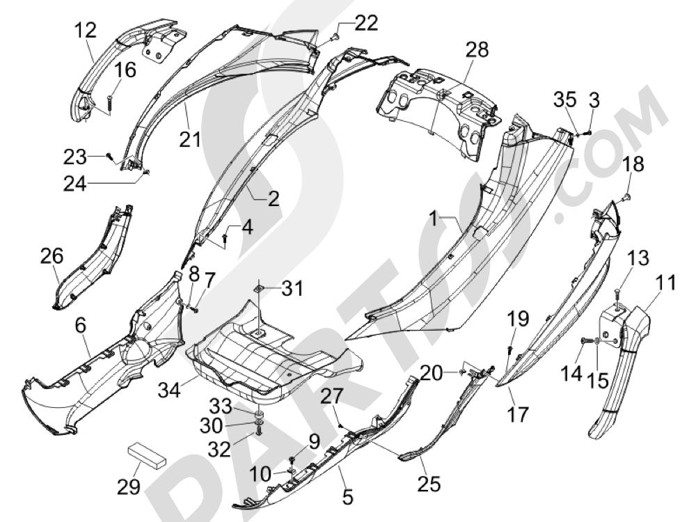 Cubiertas laterales - Spoiler Piaggio MP3 500 LT Sport - Business 2011-2012-2013
