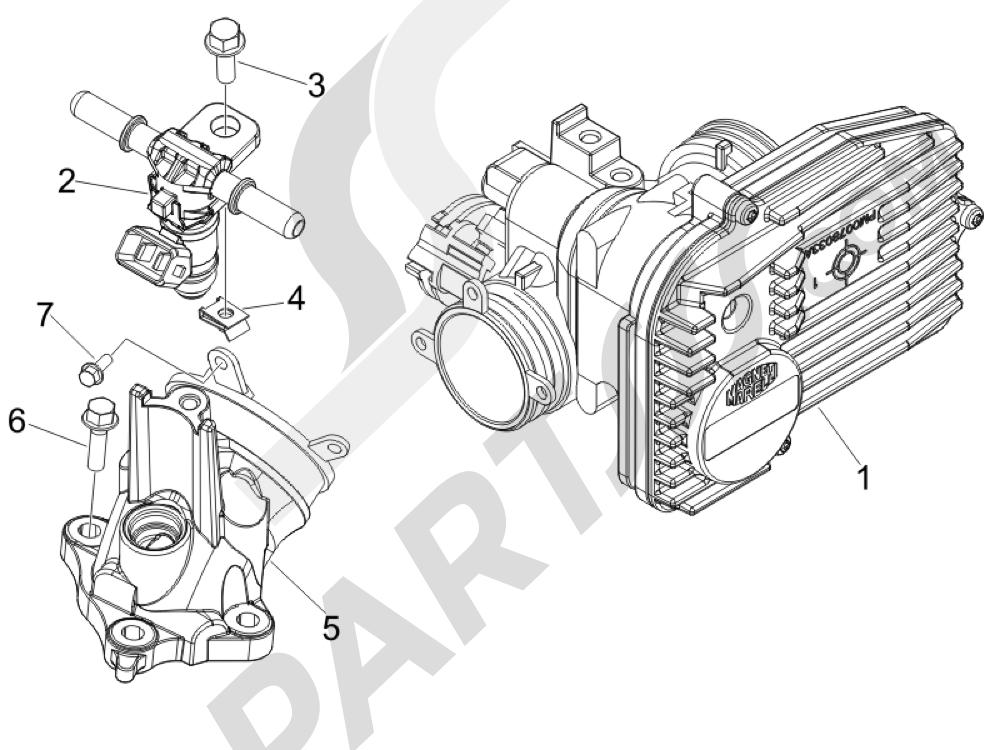 Cuerpo con mariposa - Inyector - Racord admisión Piaggio MP3 500 LT Sport - Business 2011-2012-2013