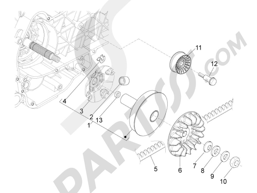 Polea conductora Piaggio MP3 500 LT Sport - Business 2011-2012-2013