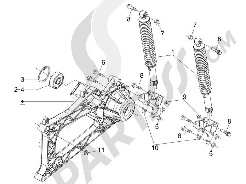 Suspensión trasera - Amortiguador es Piaggio MP3 500 LT Sport - Business 2011-2012-2013