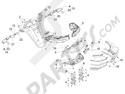 Piaggio MP3 500 LT Sport 2014-2015 Faros traseros - Indicadores de dirección