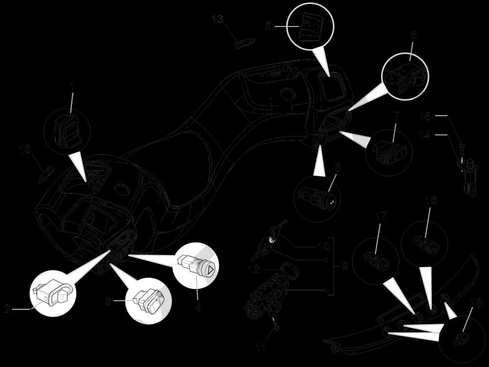 Conmutadores - Conmutadores - Pulsadores - Interruptores Piaggio MP3 500 LT Sport 2014-2015